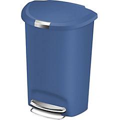 Basurero 50 litros plástico azul con pedal