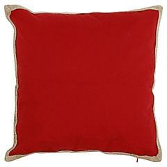 Cojín rojo yute 50x50 cm
