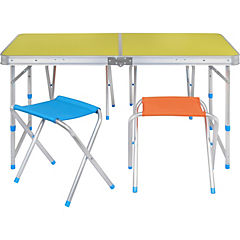 Kit de mesa + pisos plegable rectangular 5 piezas
