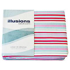 Juego de sábanas microfibra 1,5 plazas azul