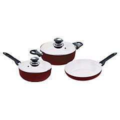 Batería de cocina 5 piezas cerámica Rojo