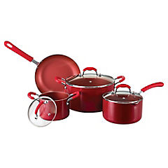 Batería de cocina 7 piezas roja antiadherente 2.5 mm