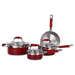 Batería cocina 7 pzs acero/silicona rojo