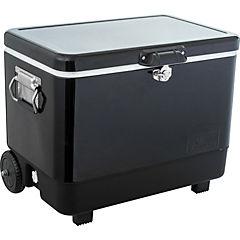 Cooler metálico con manillas 2 ruedas 51 litros negro