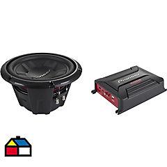 Kit de amplificador + subwoofer 1200 W Negro