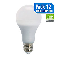 Pack 12 ampolletas led 11W luz fría E27