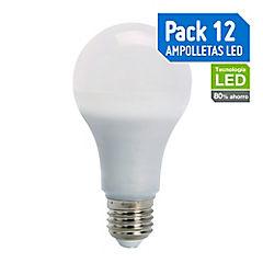 Set de ampolletas LED E-27 60 W Cálida 12 unidades