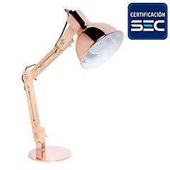 Lámpara de escritorio 40W cobre/madera E27