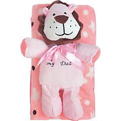 Manta 120x80 cm rosado con peluche