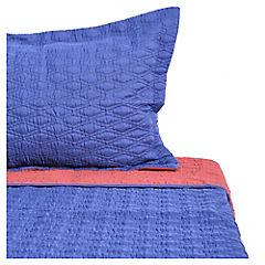 Quilt 3D azul y burdeo 1.5 plaza