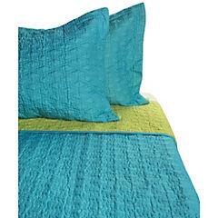 Quilt 3D turquesa y verde 2 plazas