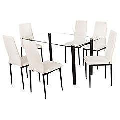 Juego de comedor 6 sillas blanco