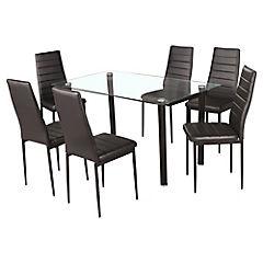 Comedor Emi blanco y negro con 6 sillas