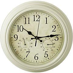 Reloj mural con termómetro 30 cm Crema