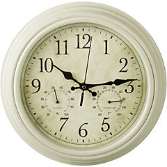 Reloj crema 30 cm con termómetro