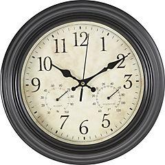 Reloj mural con termómetro 30 cm Negro