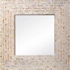 Espejo 61x61 cm estilo nácar crema