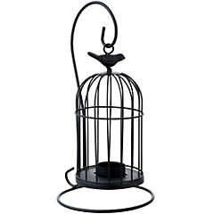 Portavelas jaula negro de metal