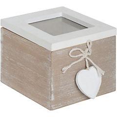 Caja de madera corazón 10x10x8 cm