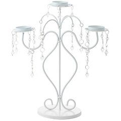 Candelabro romántico metal blanco