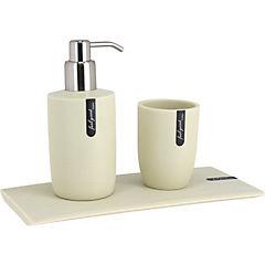 Kit de accesorios para baño 3 piezas Crema