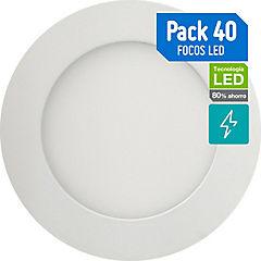 Caja 40 focos empotrados led 6W luz neutra 22.5 cm
