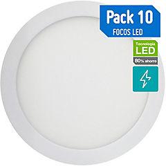 Caja 10 focos sobrepuestos led 18W luz cálida 22.5 cm