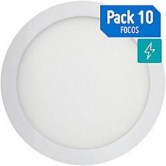 Caja 10 focos sobrepuestos led 18W luz fría 22.5 cm