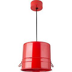 Lámpara colgante 1 luz balde rojo chica