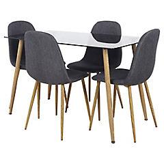 Juego de comedor 4 sillas gris for Sillas ergonomicas sodimac