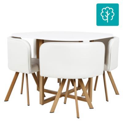 Juego de comedor 4 sillas blanco for Comedor redondo 5 sillas