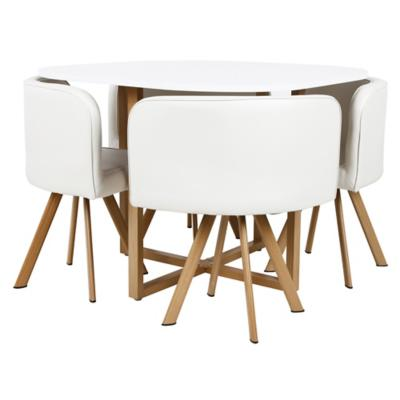 Juego de comedor 4 sillas blanco for Comedor pequea o 4 sillas