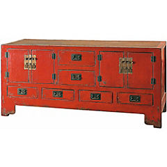 Mueble buffet 4 puertas 6 cajones rojo