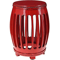 Pouf 39x35x17 cm madera color rojo