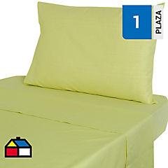 Juego de sábanas 144 hilos 1 plaza verde