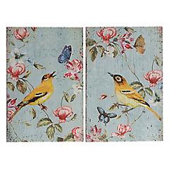 Set de 2 cuadros madera Pájaros 40x60 cm