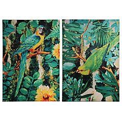Set de 2 cuadros Pájaros Tropicales 70x100 cm