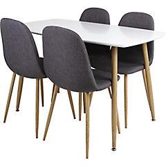 Juego de comedor 4 sillas gris