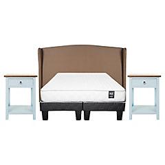 Combo Cama americana base dividida 2 plazas + Respaldo para cama Beige + 2 Veladores 1 cajón