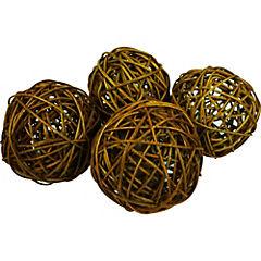 Set 4 esferas ratán 10 cm