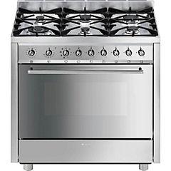 Cocina dual 6 quemadores 112 litros gris