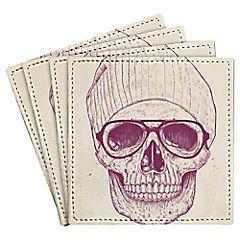 Set de 4 posavasos Cool Skull Artista de Hungría
