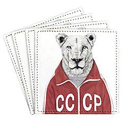 Set de 4 posavasos Soviet Lion Artista de Hungría