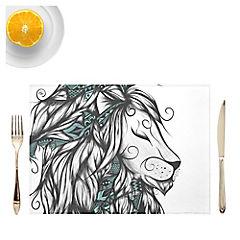 Set de 4 individuales Poetic Lion Turquoise Artista de Francia