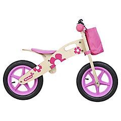 Bicicleta de madera rosada