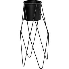 Macetero con base alta de metal 75x32x33,5 cm Negro