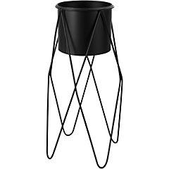 Macetero con base alta de metal 32x32x55 cm negro
