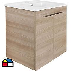Combo mueble + vanitorio + espejo Nogal arenado