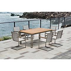 Juego de terraza Rimini 7 piezas acero inoxidable/teca/textileno