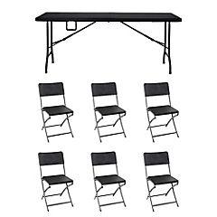 Juego de comedor Ratán plegable 6 sillas